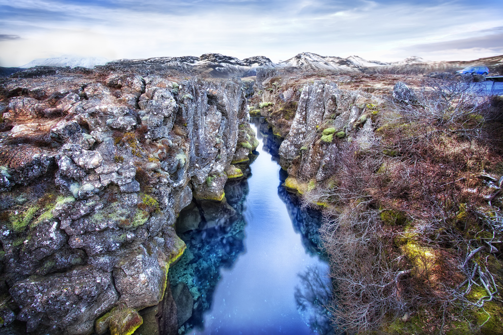 dramatic ravine landscape in iceland