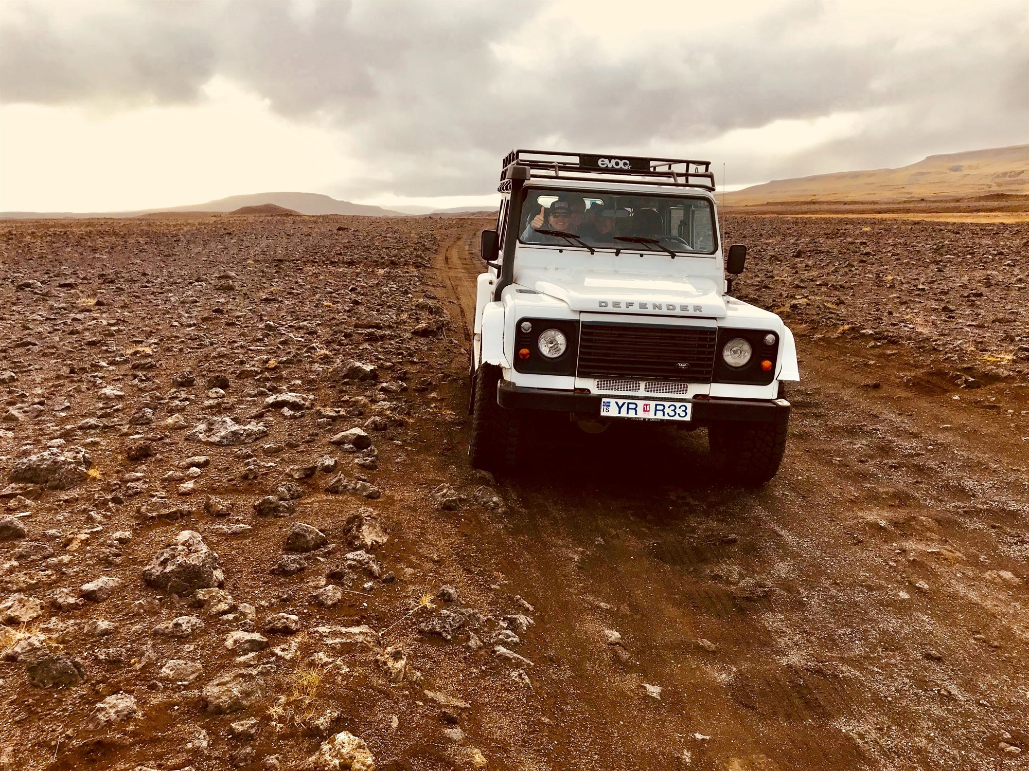 a 4x4 parked on a very rough road in the South of Iceland